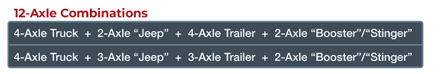 12-axle trailer freight weight combinations