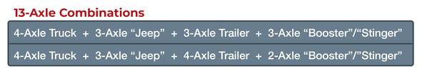 13-axle trailer combination chart