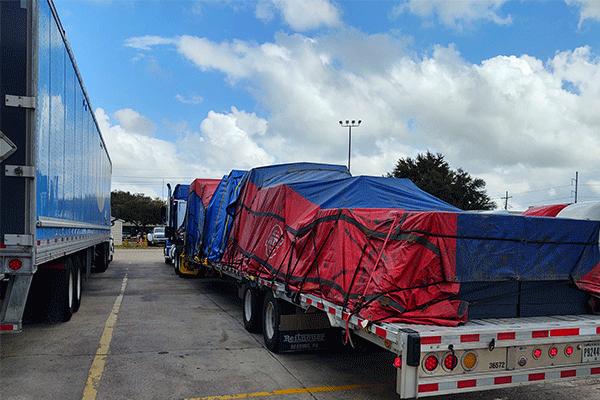 Tarped freight shipment