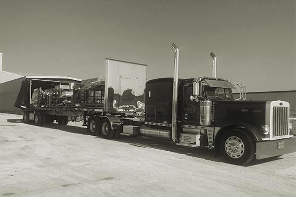 Conestoga trailer hauling freight