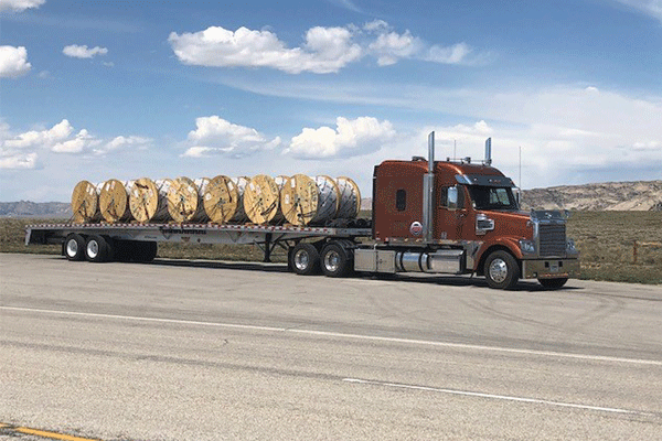 Fully loaded flatbed shipment