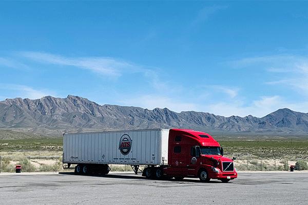 dry van semi truck and trailer