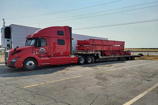 Step-deck-freight-steel-shipment