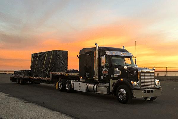 power only semi truck drop deck trailer