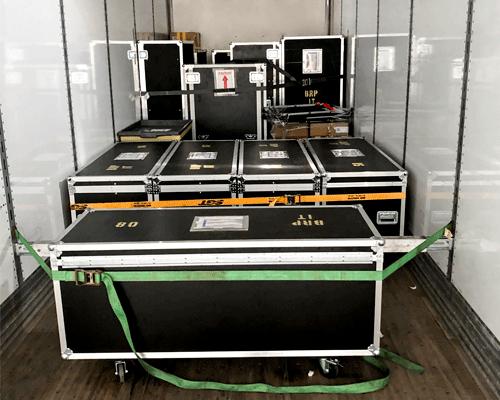 Cases inside dry van trailer