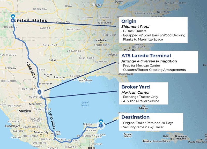 Route from Denver to Cancun