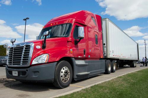Dry van tractor/trailer in parking lot