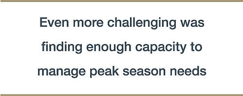 Even more challenging was finding enough capacity to manage peak season needs