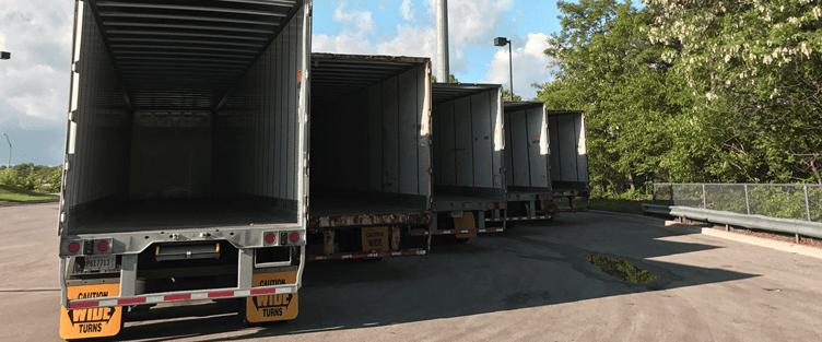 Dry Van Trailers In a Row