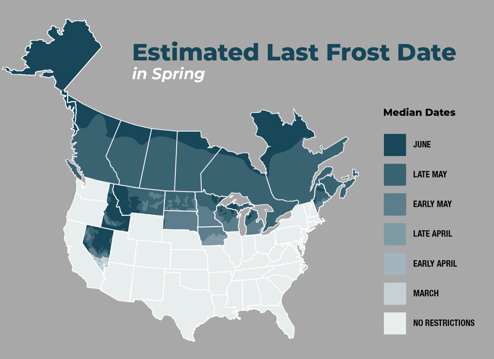 Estimated last frost date in states and provinces impacted by frost restrictions