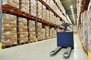 Palletized Retail Freight in Warehouse Awaiting Shipment