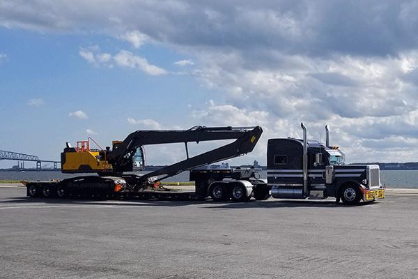 Double drop trailer heavy haul shipment