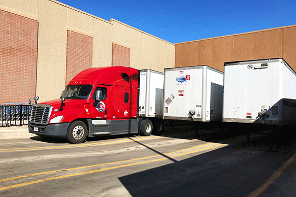 Three trailers in loading dock