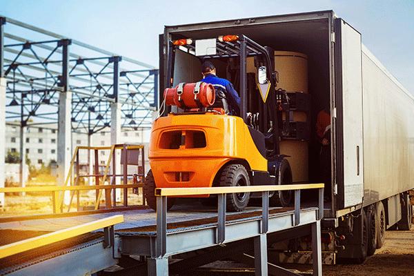 Loading a semi trailer