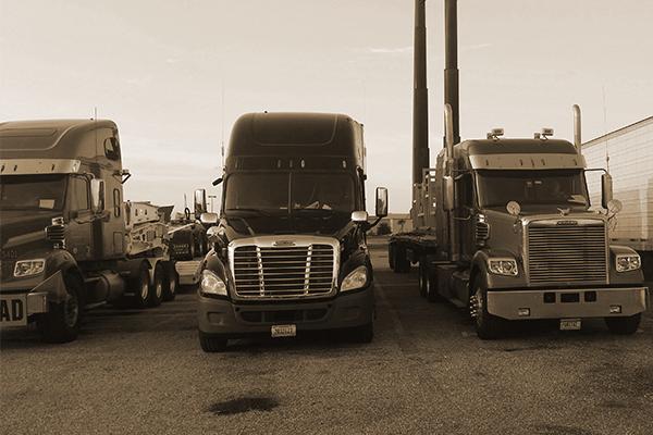 Three semi trucks