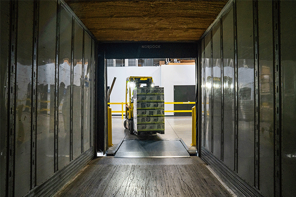 freight being loaded onto trailer