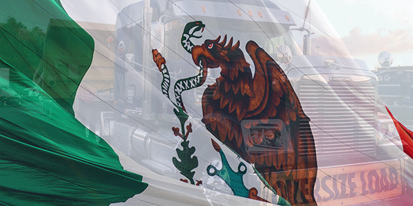 Semi truck with Mexican flag