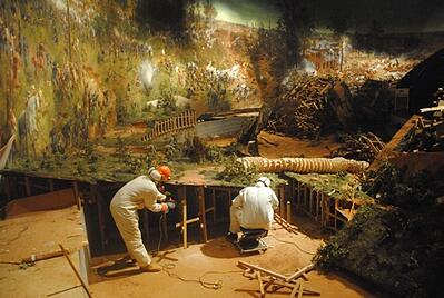 Battle of Atlanta cyclorama being broken down for transport